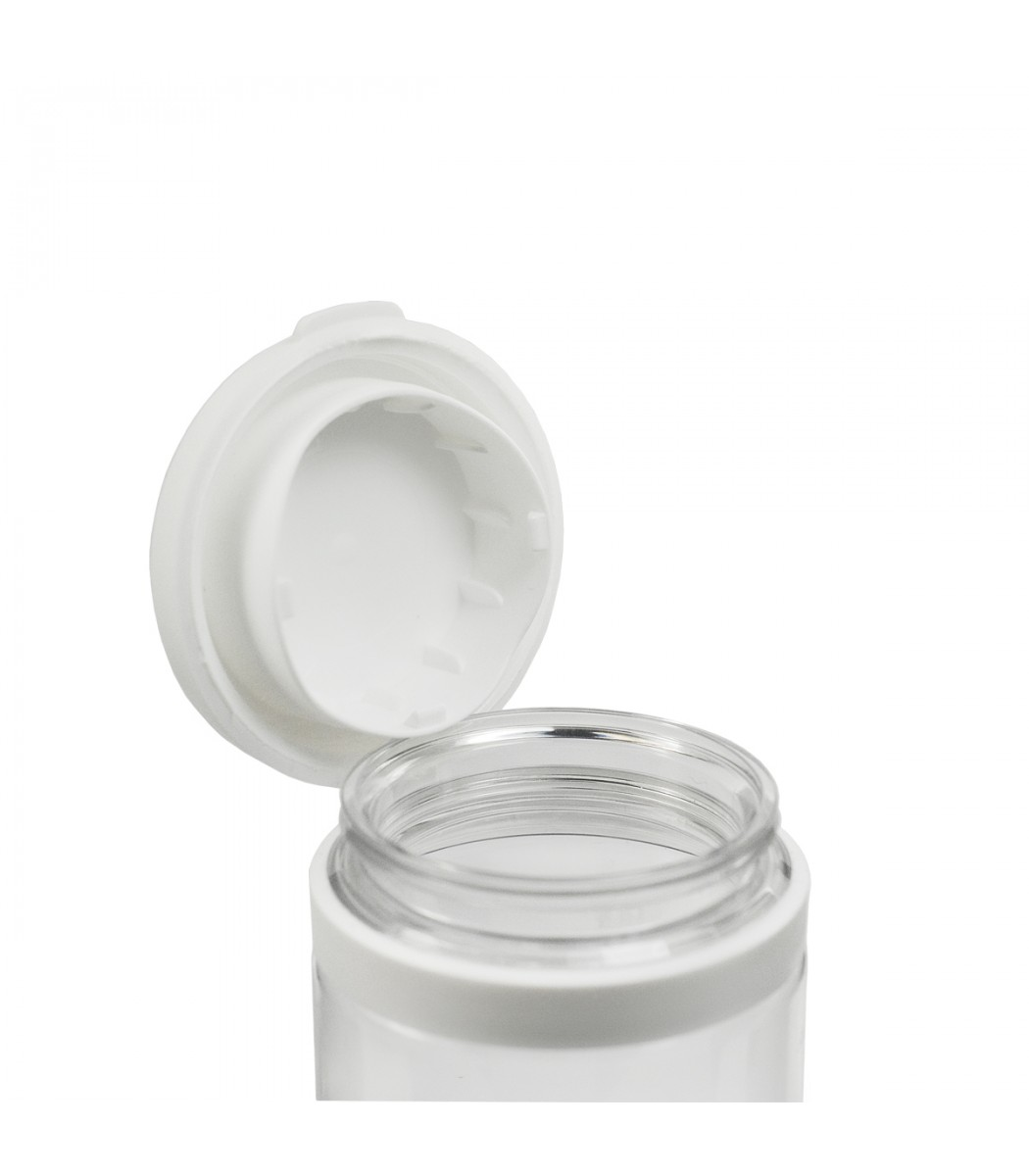 100ml Clear Plastic Pill Jar With Hinged Lid