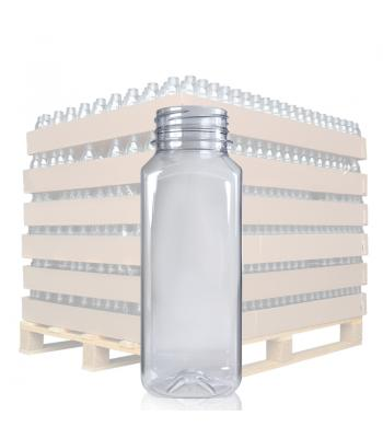 250ml Clear Square PET Juice Bottle & 38mm T/E Lid (D)