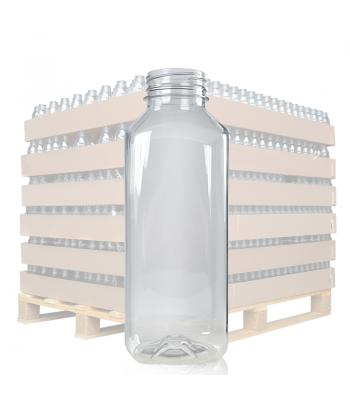 500ml Clear Square PET Juice Bottle & 38mm T/E Lid (D)