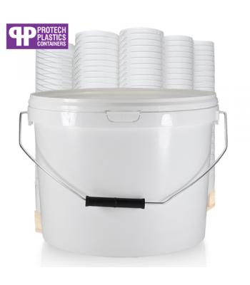 10L White Bucket with Metal Handle & White Lid (P)