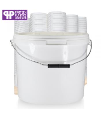16L White Bucket with Metal Handle & White Lid (P)
