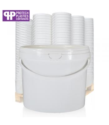 3L White Bucket with Plastic Handle & White Lid (P)