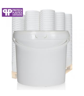 5L White Bucket with Plastic Handle & White Lid (P)