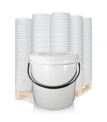 11L UN White Bucket with Plastic Handle & Lid SC1311