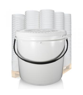 22L UN White Bucket with Plastic Handle & Lid SC1322