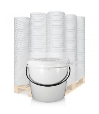 7L UN White Bucket with Plastic Handle & Lid SC1307