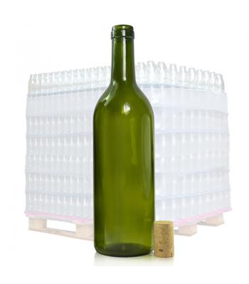750ml Olive Green Glass Wine Bottle and Cork
