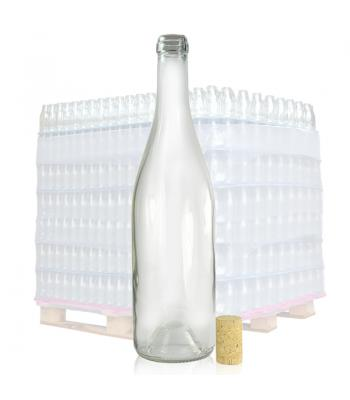 750ml Clear Glass Wine Bottle and Cork