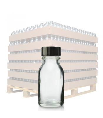 15ml Clear Glass Winchester Bottle & 20mm (R3) Black Polycone Cap