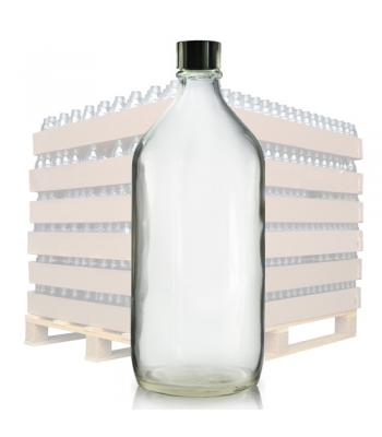 1000ml Clear Glass Winchester Bottle & 31mm (R6) Black Polycone Cap