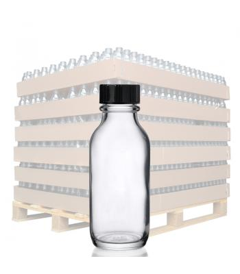 30ml Clear Glass Winchester Bottle & 20mm (R3) Black Polycone Cap