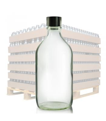 500ml Clear Glass Winchester Bottle & 31mm (R6) Black Polycone Cap
